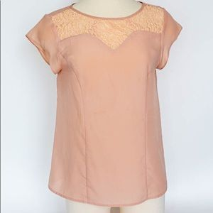 Tops - Chiffon pink and lace polyester blouse